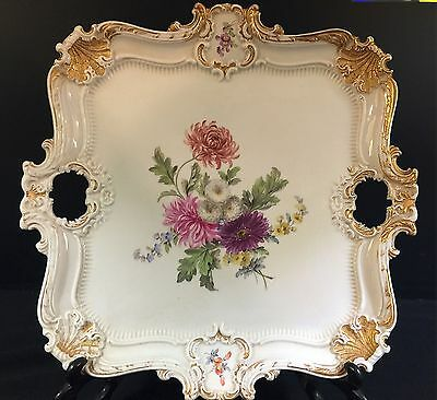 Meissen Square Tray--Lovely Floral Center--Gold Highlights--a Beauty--BUY IT NOW