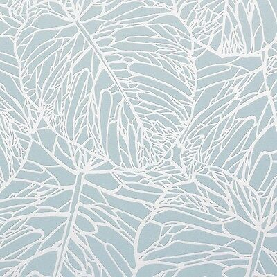 Blue & Silver Textured Tropical Leaf Wallpaper - Textured - 10m - NEW!