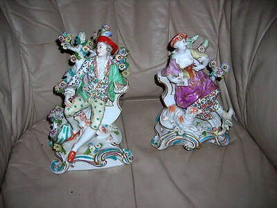 Pair Of Large Antique 19Th C. Chelsea French Samson Old Paris Figurines 10X7X6