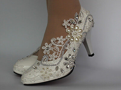 """Pumps White Ivory Lace Pearls and Crystal Pumps Wedding shoes size 5-9.5 Heel 3"""""""