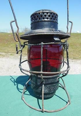 Adlake Train N&w Ry Railroad Kerosene Lantern North Western W/ Red Globe