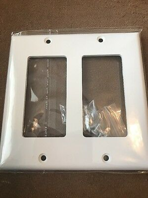 Set Of 3 2 Gang WHITE   Plastic Wall Switch Plate Cover  ** Brand New w/ Screws