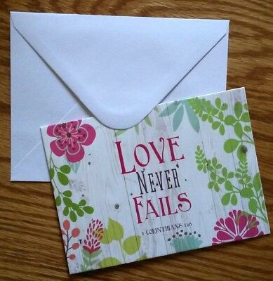 Set of 6 Blank Notecards & Envelopes ~  Love Never Fails Inspirational Flowers