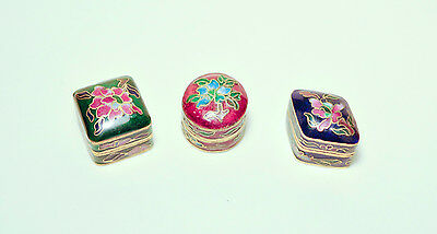 Vintage Enamel and Brass Snuff Pill Tabacco Boxes