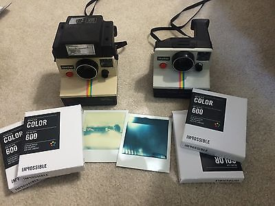 Lot Of 2 Polaroid OneStep White Instant Land Camera W/ Flash And 4 Packs Film