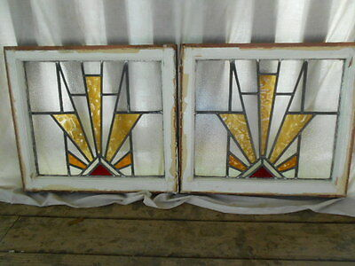 "Pair Antique English Stained Glass Windows * Orig. Frames * 19"" X 20.5"""