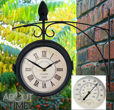 Metal Garden Station Clock Thermometer Black Swivel Glass Greenwich Outdoor 15cm