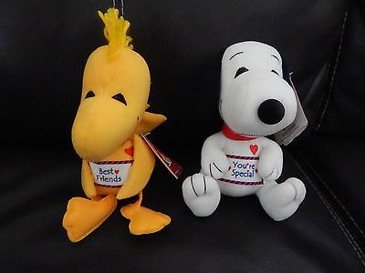 50th Anniversary Woodstock and Snoopy Squeak Plush Dolls New Tags Free Ship!