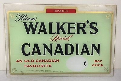 Vintage HIRAM WALKER'S SPECIAL CANADIAN WHISKEY Plexiglass Advertising Sign