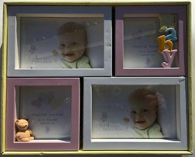 "Baby Picture Frame Collage 4 Spinning Frames 2-4""x4"" 2-4""x6"" White And Pink"