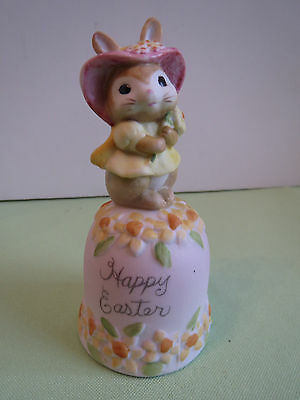 Mint Vintage 1980s Porcelain Bisque Happy Easter Bunny Rabbit Spring Bonnet Bell