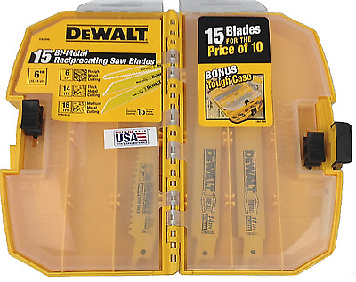 Dewalt DW4890 Tough Case 6in Saw Blade Recip Sawzall Blades Metal/Wood 15 piece