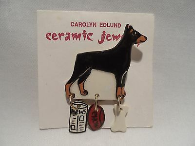 Carolyn Edlund Doberman Pinscher Dog Ceramic Pin Brooch  with Charms by NEW!