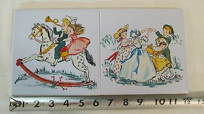"2 Vintage 6"" Ceramic Tile Trivets Hand Painted Children Playing, Rocking Horse"