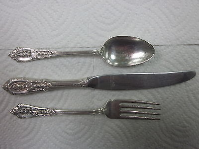 Vintage Wallace ROSE POINT STERLING SILVER 3 Piece Child Set