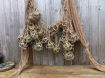 Japanese Fishing Net /Rope W/ Attached 24 Glass Fishing Floats, 3 Wood Floats