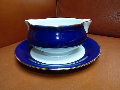 SAUICIERE PORCELAINE DE LIMOGES Bleu de Four Filet OR Pavillon HAVILAND bleue