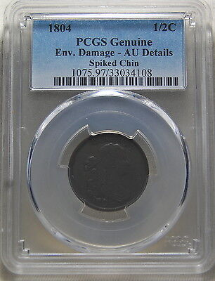 1804 Draped Bust Half Cent Spiked Chin Variety Pcgs Au Detail 1/2C Us Coin