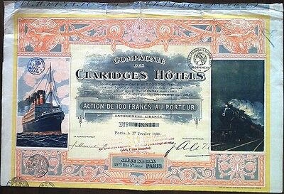 France French 1921 Claridges Hotels Paris 5000000 Francs Coupons UNC Bond Share