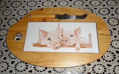 Hand Painted Pigs Piglets Artist Oz Signed Ceramic Wood Cheese Cutting Board