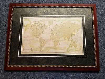 Original Antique Map of The World Ocean Currents Framed Mahogany Rope Wood Frame