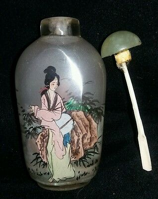 Vintage Chinese Hand Reverse Painted Crystal Scent Bottle Boxed.