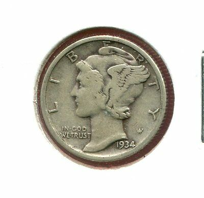 1934 P Mercury/Liberty Head 90% Silver Dime  (Combined Shipping $2.95)