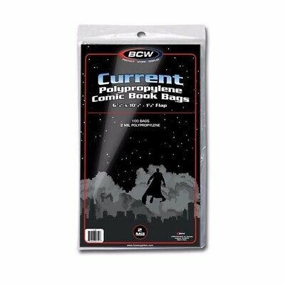 Pack of 100 CURRENT / MODERN AGE Comic Book Bags Sleeves BCW NEW