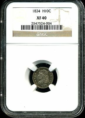 1834 H10C Capped Bust Half Dime XF40 NGC 2547524-004