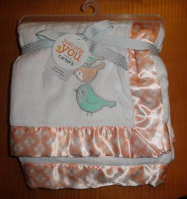 New CARTERS Just One You Baby Crib Blanket Girls Birds Peach Satin