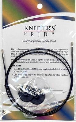 """Knitters Pride Black (Silver Joins) IC Cords to Make 16"""" 20"""" 24"""" 32"""" 40"""" 47"""" 60"""""""