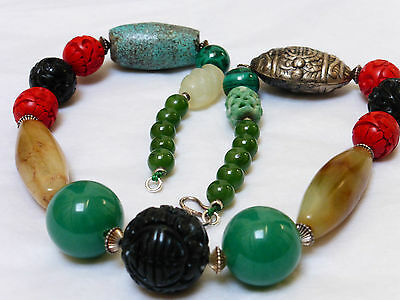 Chinese Vintage Hand Carved Jet, Jade, Mixed Beaded Necklace, Silver Clasp