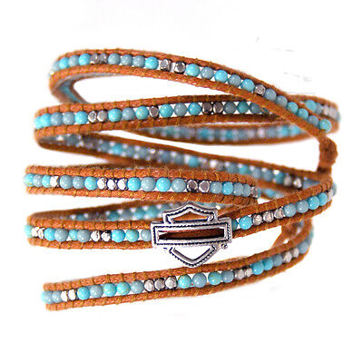 Harley Womens Sweet Zone Turquoise Beads with B&S Brown Leather Wrist Cuff