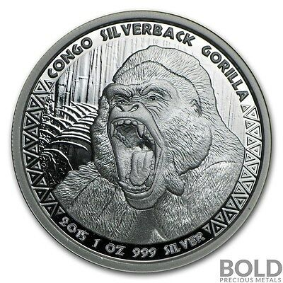 2015 Silver Republic of Congo Silverback Gorilla Proof .999 - 1 oz Coin Capsule