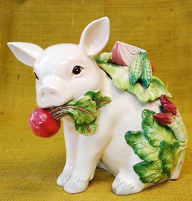 Fitz And Floyd French Market Pig Figurine Vegetables Cookie Jar - Retired Htf