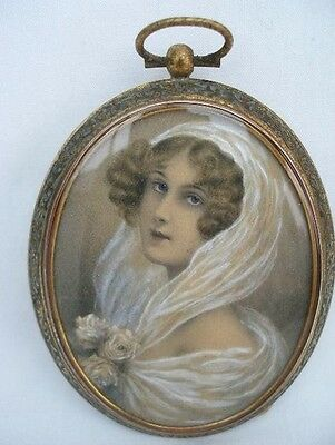 Fine Signed late 19th Century Antique Portrait Miniature Painting of a Lady.