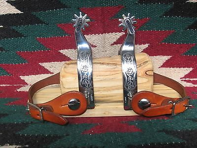 Exceptional New Old Stock Pm Kelly Toots Mansfield Silver Mounted Spurs & Straps