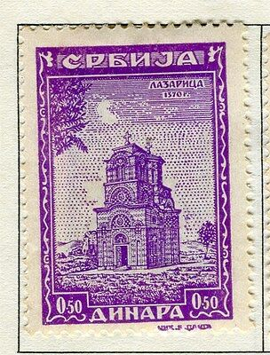 SERBIA;  1941-43 early Monasteries issue fine Mint hinged 0.5d. value