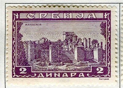 SERBIA;  1941-43 early Monasteries issue fine Mint hinged 2d. value