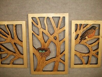NEW!! Hand Carved 3 Piece Wall Display BRANCHES w/ ROBIN NEST EGGS Wood Carving