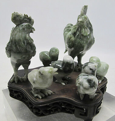 Jade Nephrite Chicks Chicken Year of the Roosters Hardwood Huali Base Family yqz
