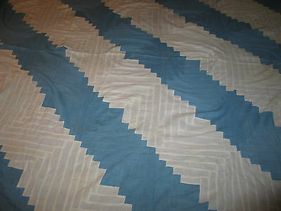 Antique Primitive 1800s BARN RAISING-LOG CABIN Quilt Top~Blue-White