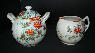 Hand Painted Oriental Porcelain Sugar And Creamer