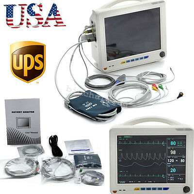 "USA ICU CCU 6-Parameter 12"" Patient Monitor ECG NIBP SPO2 TEMP RESP PR warranty"
