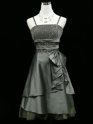 Cherlone Plus Size Grey Prom Formal Ball Evening Wedding Bridesmaid Dress 20-22