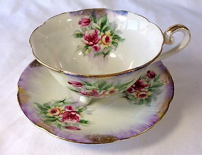 Royal Sealy Bone China Japan Footed Teacup & Saucer Gold JAPANESE SEAL FLORAL