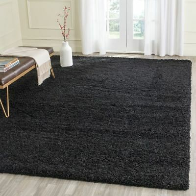 LUXURY THICK 5cm PILE SOFT SHAGGY BLACK PLAIN MODERN NON-SHED RUG ROOM CARPET