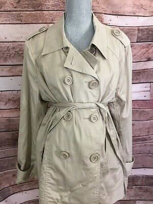 Motherhood Maternity Khaki Beige Peacoat Sz Large L Lined Double Breasted NEW