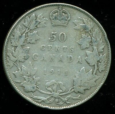 1911  Canada King George V, Silver Fifty 50 Cent Piece