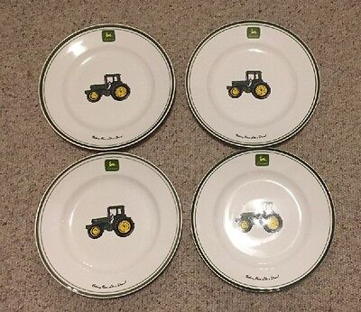 "4 Piece Set Gibson JOHN  DEERE Tableware Dinner Plates  11 1/4""  Nice!"